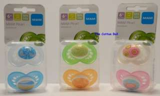 NEW MAM Baby Pacifiers BOY GIRL 6 M+ Pearl 3 Styles