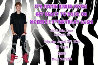Justin Bieber Custom Birthday Party Photo Invitation