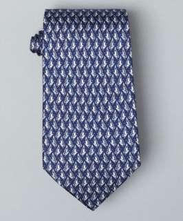 Salvatore Ferragamo marine blue butterfly side print Nastro silk tie