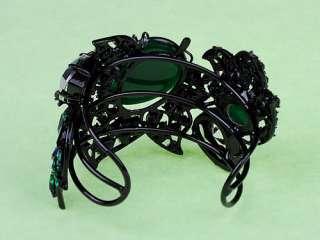 Emerald Glass Crystal Rhinestones Green Poison Ivy Gem Cuff Bracelet