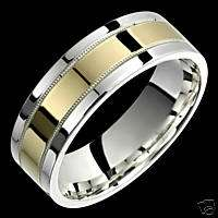 7mm Two Tone Silver & Gold Rings Wedding Promise Bands