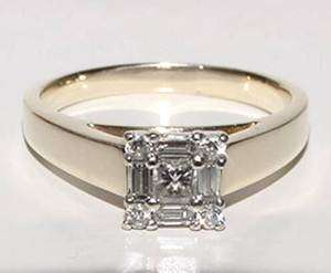 14K Gold Promise Ring Princess Baguette Rnd Diamond 8.5