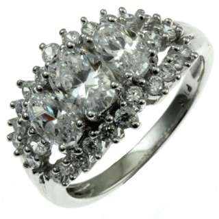 10k white gold 3 oval shape faceted Cubic Zirconia ring