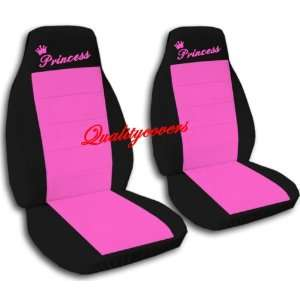 2 Black and hot pink Princess car seat covers, for a