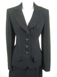 SONIA RYKIEL Black Pin Striped Skirt Suit Sz 38