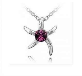 Crystal Love Starfish Platinum Plated Pendant Necklace Fashion Jewelry