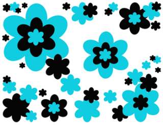 TURQUOISE BLUE BLACK FLOWER FLORAL TEEN WALL ABSTRACT ART BORDER