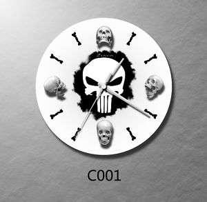 collectible skull w/bone pirate wall clock art