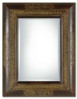 Wall Mirror  Tuscan Rectangle Wall Mirror with Embossed Copper Panel
