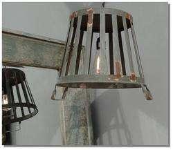 Industrial BASKET CHANDELIER lighting factory chic shabby vintage