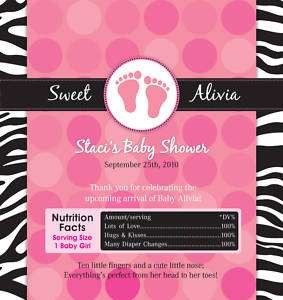 20 Zebra Print Candy Wrapper Birthday Baby Shower Favor