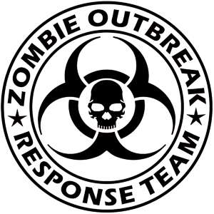 Zombie Outbreak Response Team Funny Vinyl Decal. 12 colors too choose
